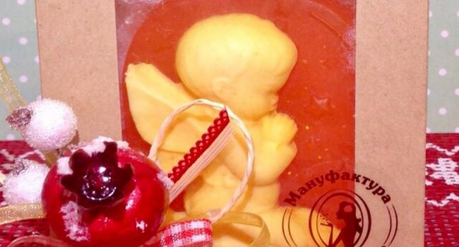 «Янтарный ангел» - мыло с пожеланием в упаковке